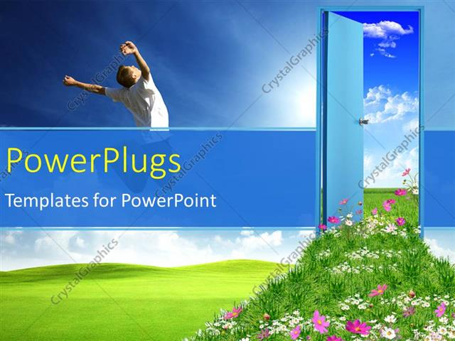 PowerPoint Template Displaying a Person who is Happy with a Door and Bluish Background
