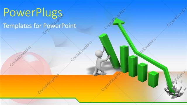 PowerPoint Template Displaying a Whit 3D Character Arranging a Green Colored Bar Chart