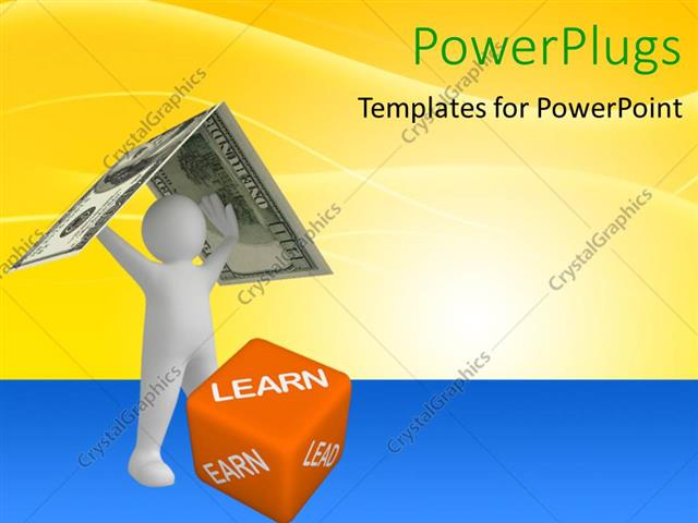 PowerPoint Template Displaying a Person Holding the Dollar Note with Yellowish Background