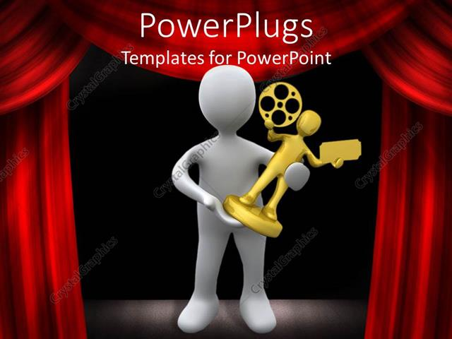 Powerpoint template a person holding a film award with curtains powerpoint template displaying a person holding a film award with curtains in the background toneelgroepblik Choice Image