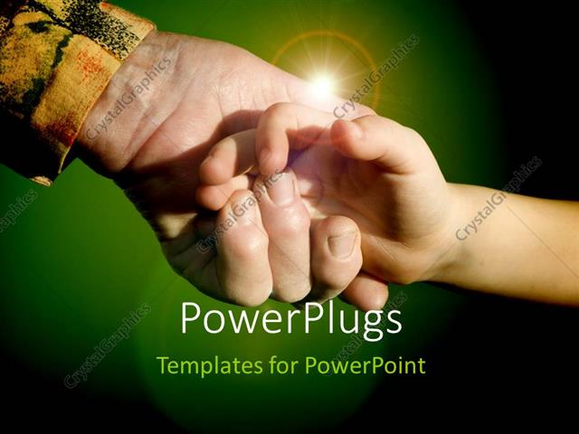 PowerPoint Template Displaying a Person Holding the Hand of the other with  Greenish Background
