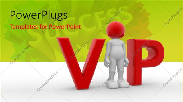 PowerPoint Template Displaying 3D Man Replaces Letter i in VIP with SUCCESS in Background