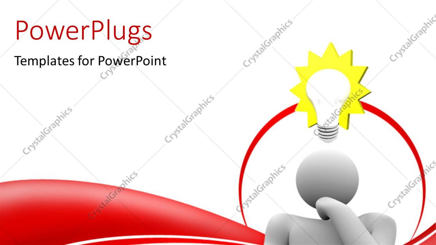 PowerPoint Template Displaying a Person with an Idea and White Background