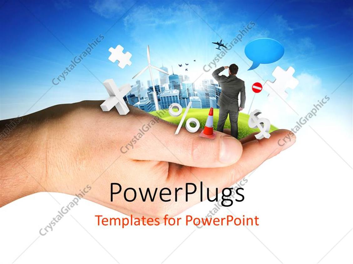 PowerPoint Template Displaying a Person Looking for the Apps and Bluish Background