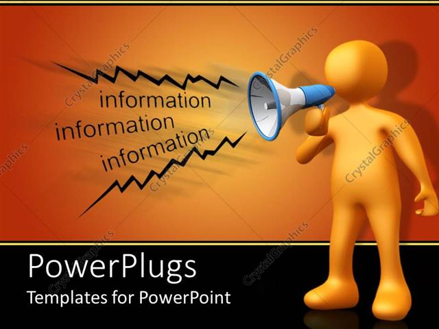 powerpoint template a person making an announcement on loud speaker