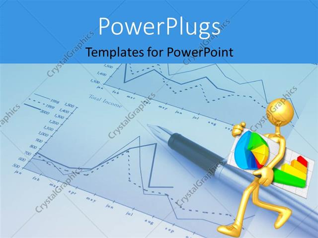 Powerpoint Template A Person With A Pie Chart And Graph 5933