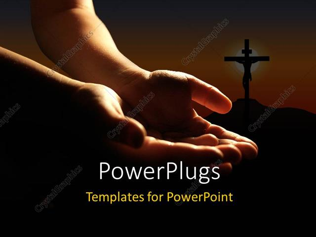PowerPoint Template Displaying a Person Praying to the God with a Holy Cross in the Background
