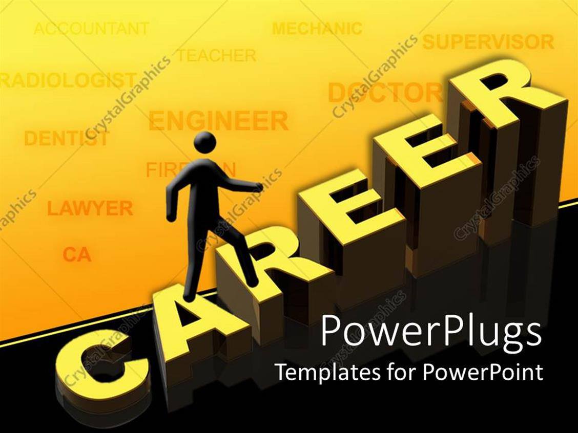 PowerPoint Template Displaying a Person Pursuing his Career and Various Careers in the Background