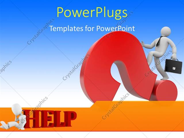 Powerpoint Template A Person With A Question Mark And Bluish