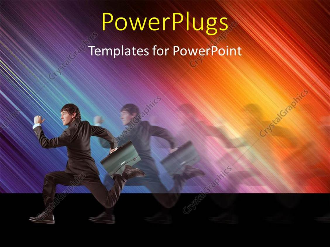 PowerPoint Template Displaying a Person Running in the Pursuit with a Colorful Background and Place for Text