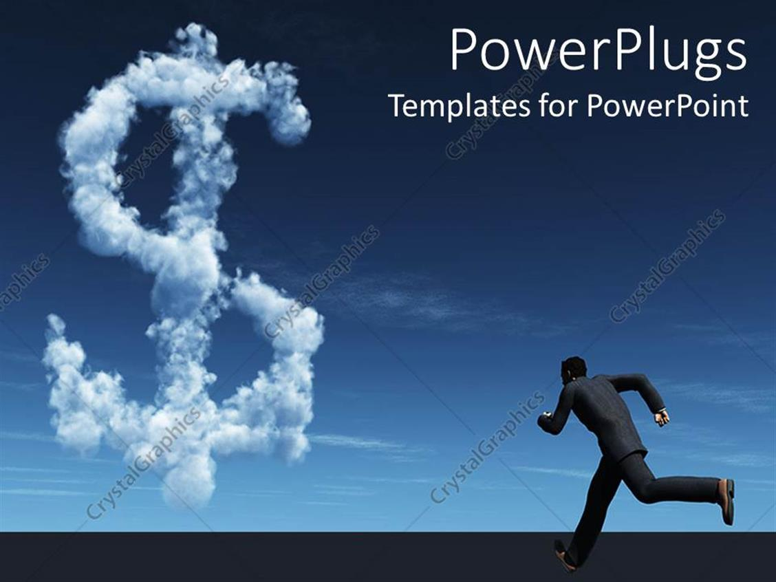 PowerPoint Template Displaying a Person Running Towards the Dollar Sign