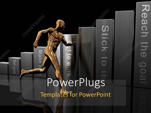 PowerPoint Template Displaying a Person Running Towards Success Rules in Market