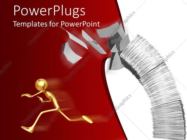 PowerPoint Template Displaying a Person Running from the Workload