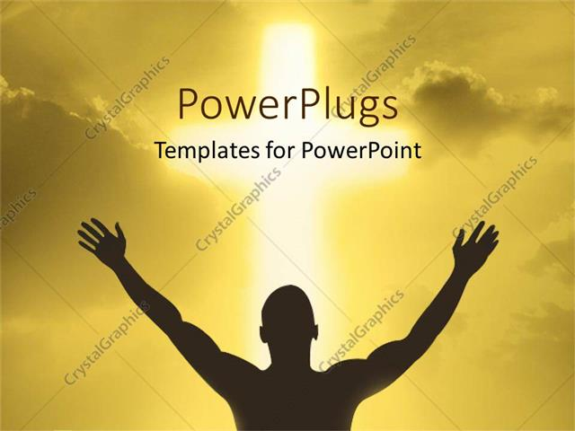 PowerPoint Template Displaying a Person Showing Devotion to God