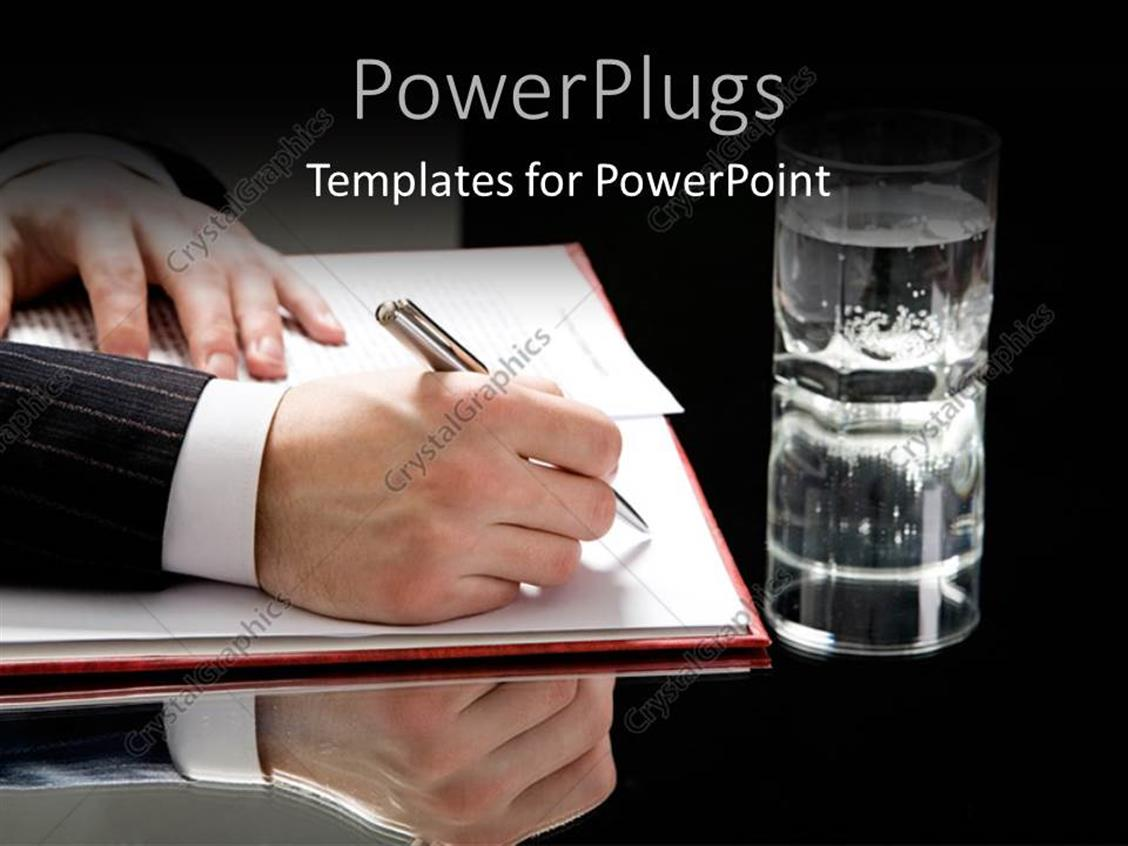 PowerPoint Template Displaying a Person Signing Documents with a Glass of Water at a Side