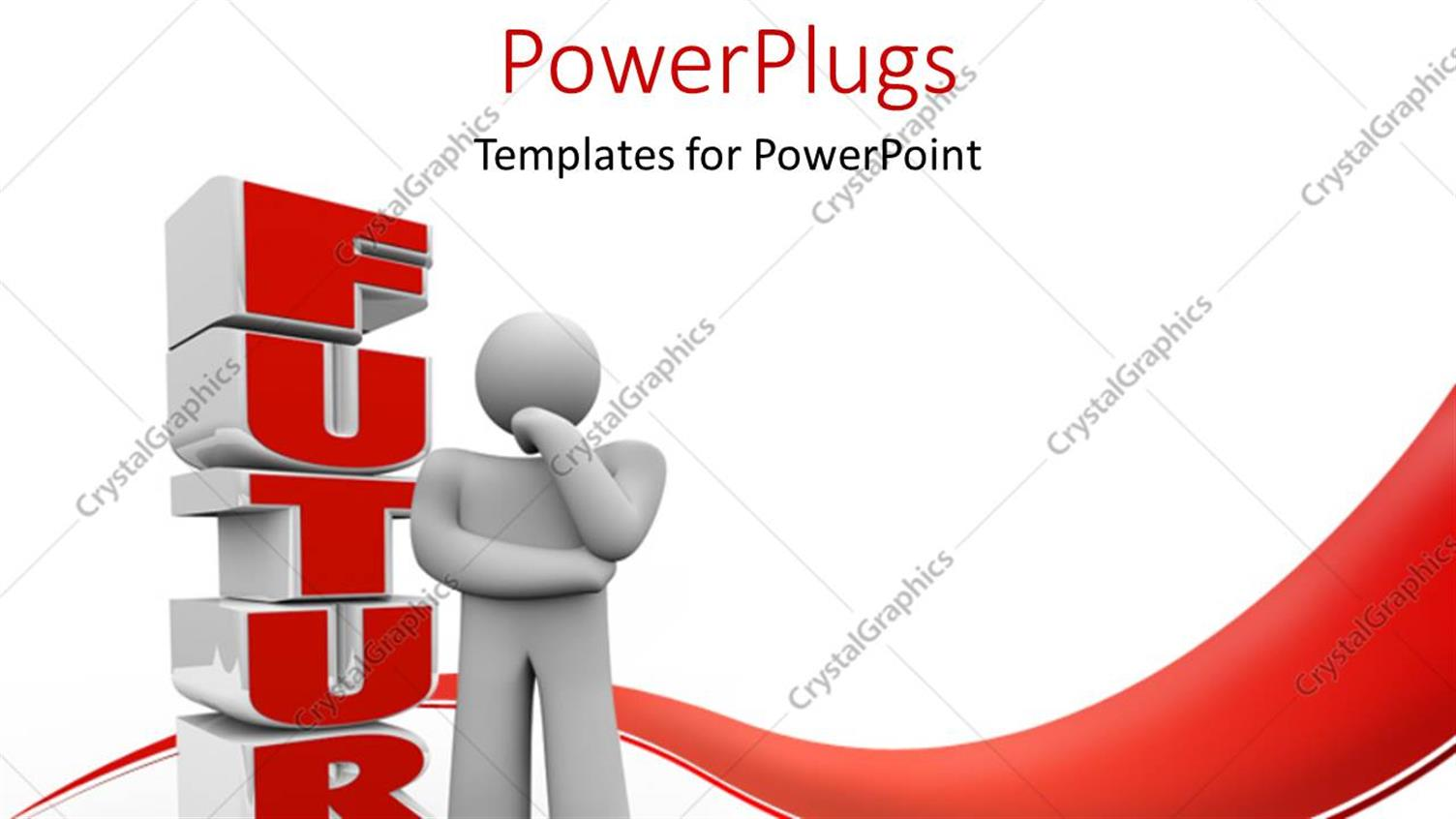 PowerPoint Template Displaying a Person Thinking of the Future with White Backround
