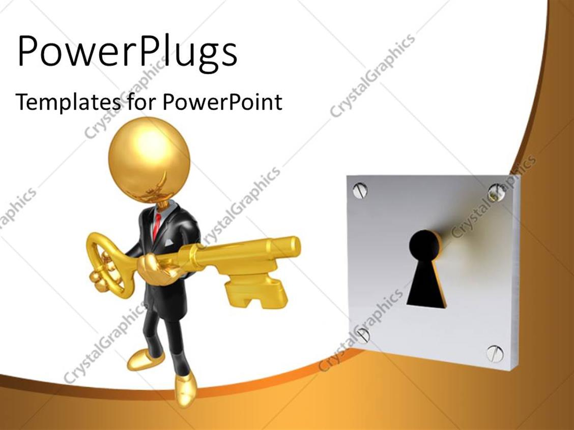 PowerPoint Template Displaying a Person Trying to Unlock with the Help of a Key