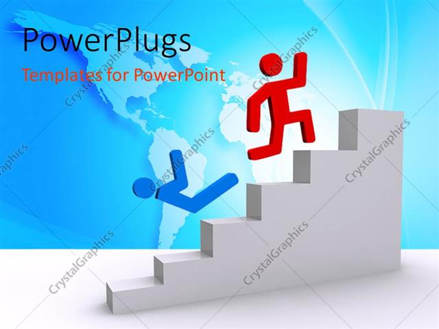 PowerPoint Template Displaying a Person Winning the Race of Climbing the Stairs