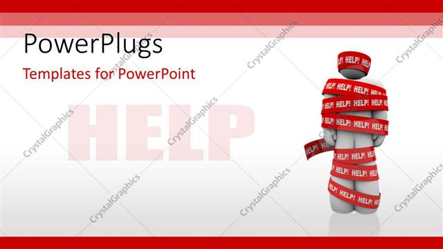 PowerPoint Template Displaying Red Tape with HELP Tag Wrapped Around 3D Man