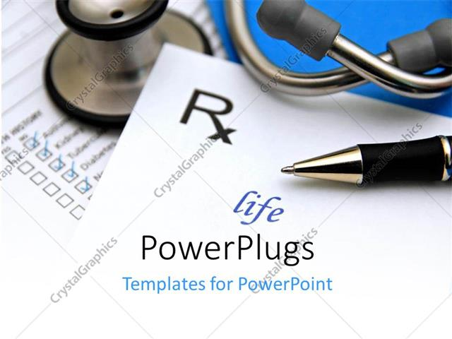 PowerPoint Template Displaying Pharmacy Symbol with Ballpoint Pen and Stethoscope on Medical Report