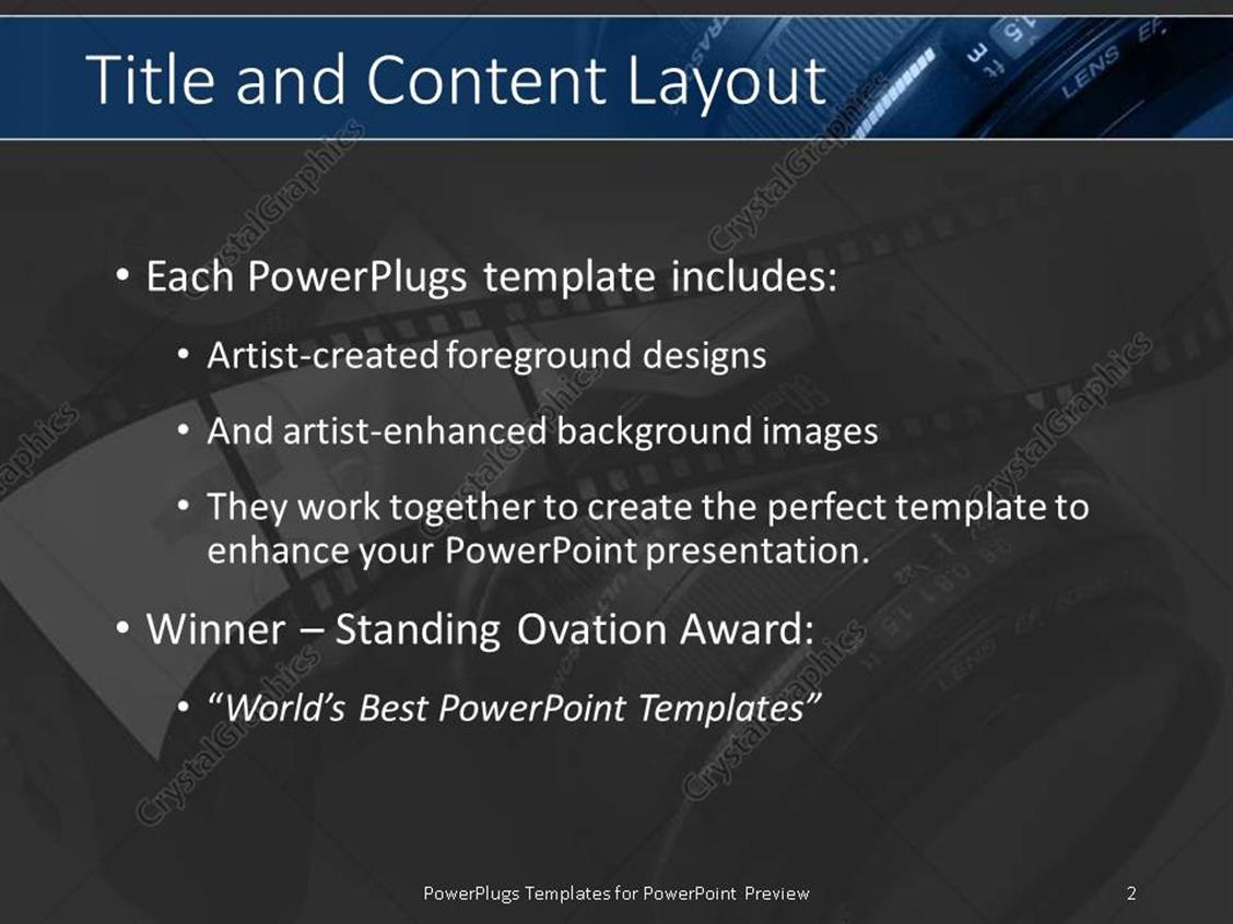 Powerpoint template photography with film and slr camera lens in powerpoint products templates secure standing ovation award toneelgroepblik Choice Image
