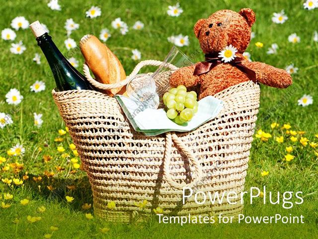 powerpoint template picnic basket with teddy bear bread wine
