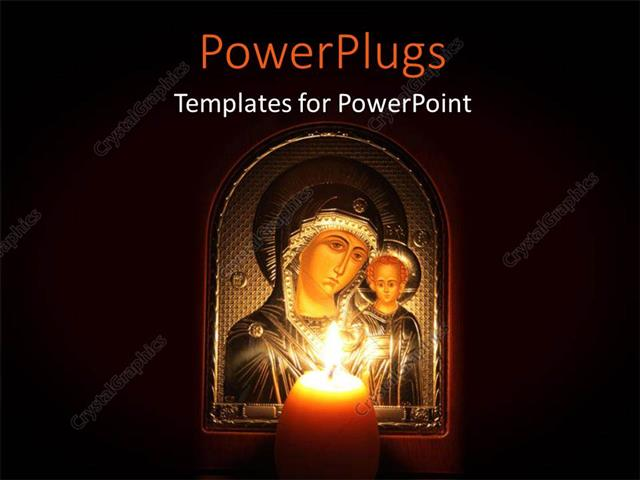 PowerPoint Template Displaying a Picture Frame of Mother Mary and Baby Jesus