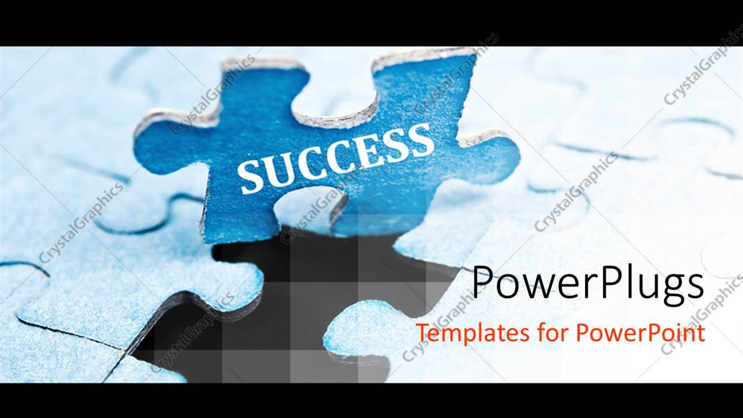 PowerPoint Template Displaying a Blue Puzzle with a Text that Spells Out the Word