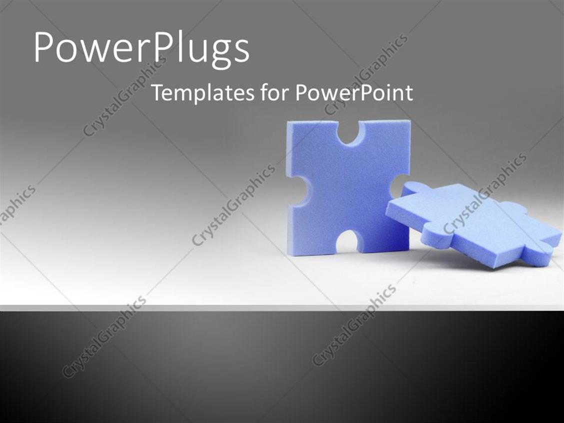 PowerPoint Template: pieces of puzzles fit together grey background ...