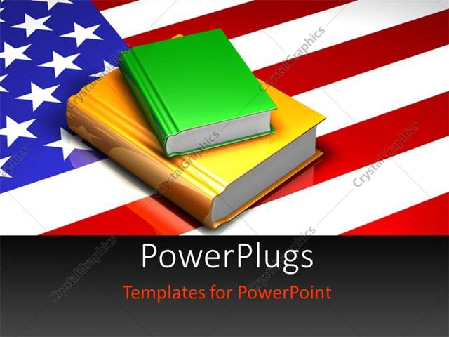 powerpoint template pile of colored books on united states of