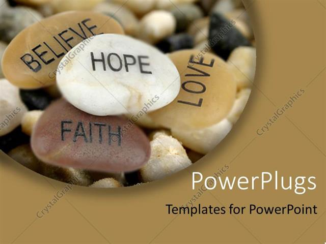 PowerPoint Template Displaying Pile of Inspirational Rocks Believe Hope Faith Love
