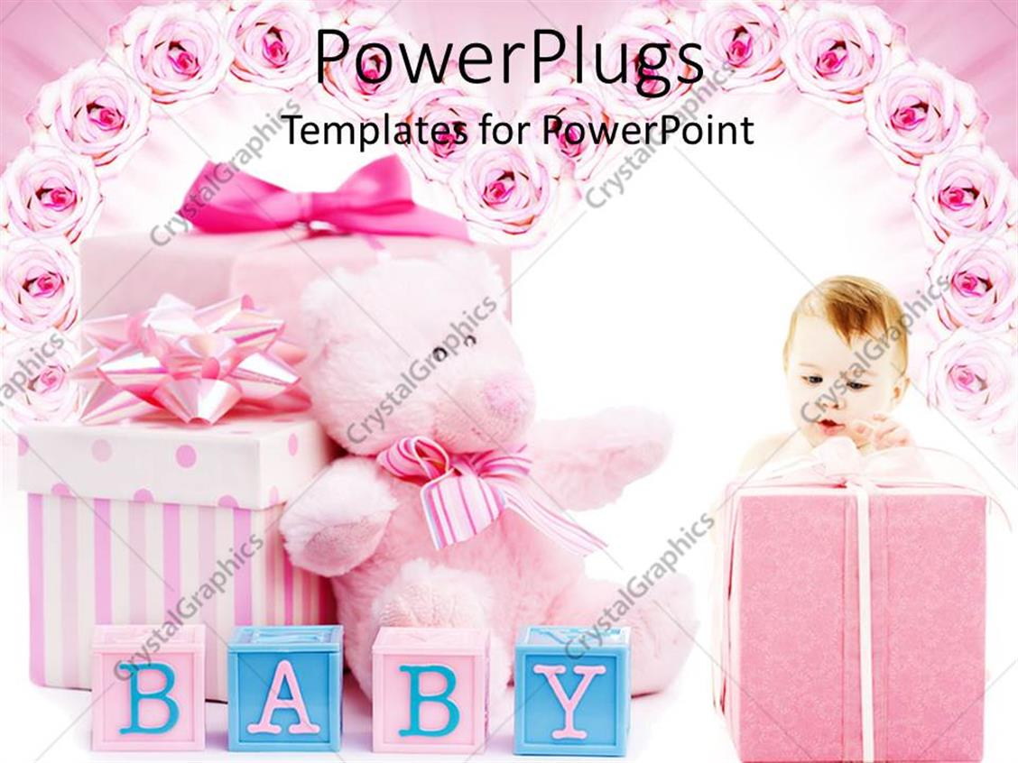 PowerPoint Template Displaying Pink Baby Shower Gifts for Girl, Blocks, Teddy Bear, Roses