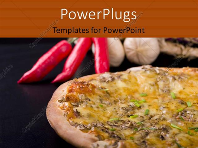 Powerpoint Template Pizza And Dried Decoration With Red Chilies And
