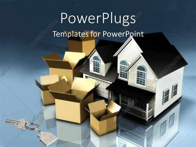 PowerPoint Template Displaying Planning To Move Houses Moving Boxes New  Keys Mortgage Financial Plans .