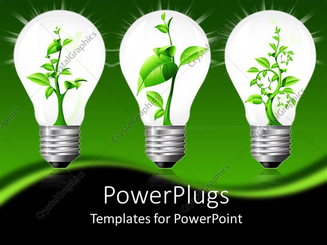 PowerPoint Template Displaying Plant Sprouting Up in Three Sparkling Light Bulbs with Green Background