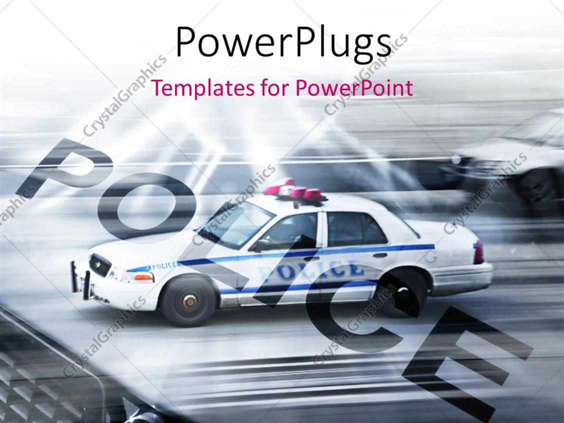 PowerPoint Template Displaying Police Cars Running on the Streets of New York with Motion Blur