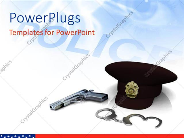Powerpoint template police hat gun and handcuffs with depiction 23672 powerpoint template displaying police hat gun and handcuffs with depiction toneelgroepblik Image collections