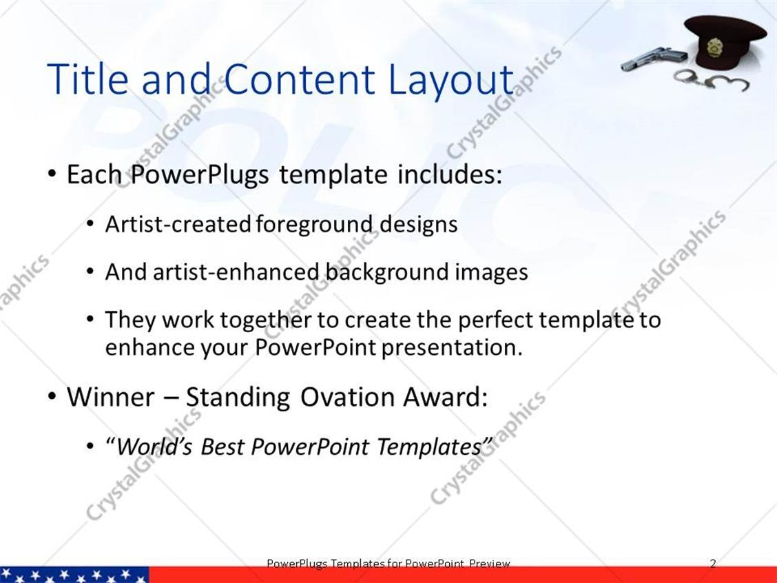 Powerpoint template police hat gun and handcuffs with depiction 23672 powerpoint products templates secure alramifo Image collections