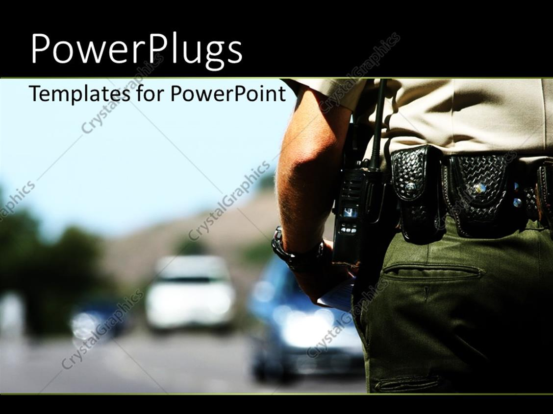 Powerpoint template police officer with police radio affixed to powerpoint template displaying police officer with police radio affixed to belt and blurry background alramifo Image collections