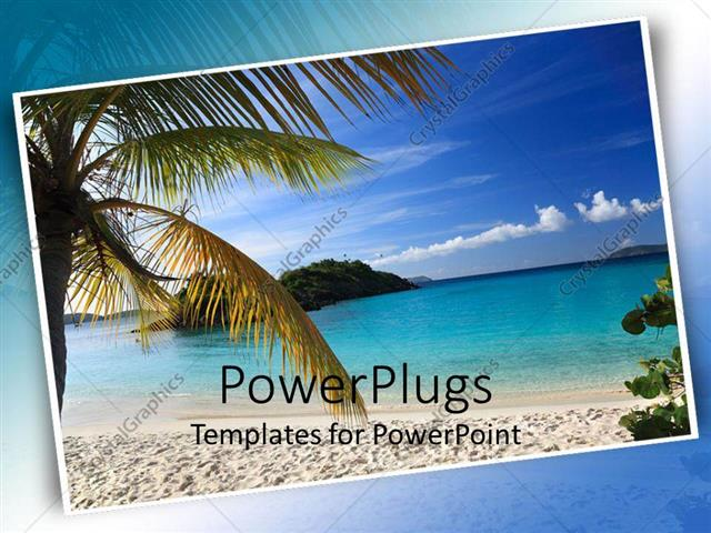Powerpoint template postcard of beautiful beach scene with palm powerpoint template displaying postcard of beautiful beach scene with palm tree sand beach and ocean toneelgroepblik Images