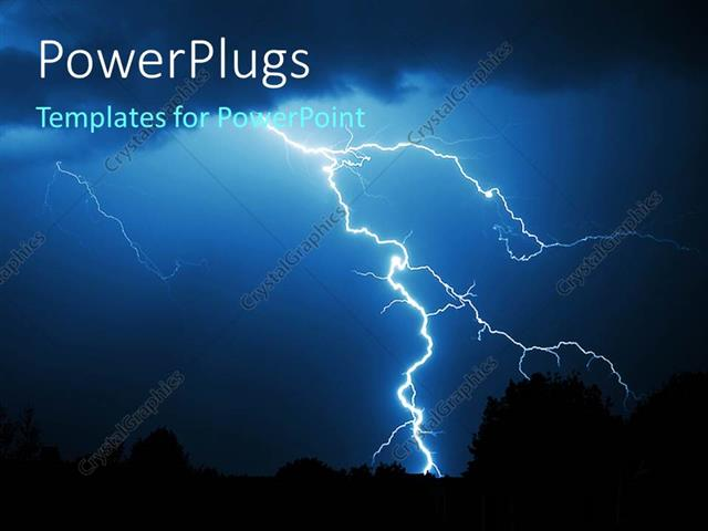 powerpoint template powerful lightning strike in the darkness