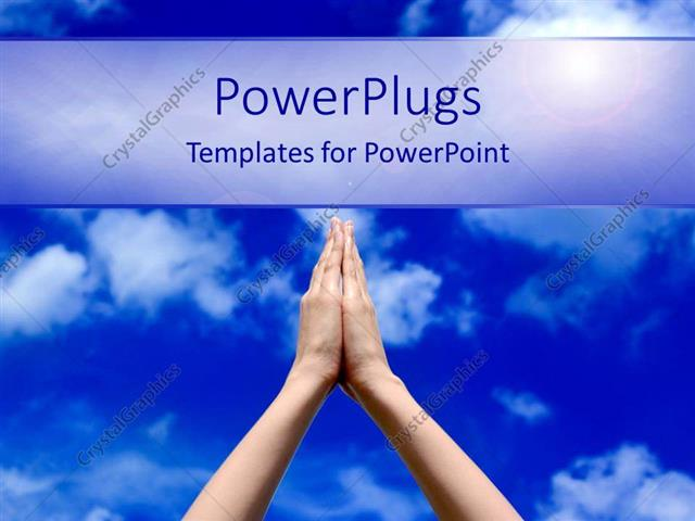 powerpoint template prayer concept with praying hands and blue sky