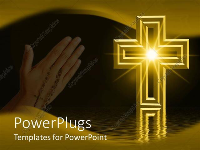 powerpoint template praying hands with rosary next to gold cross