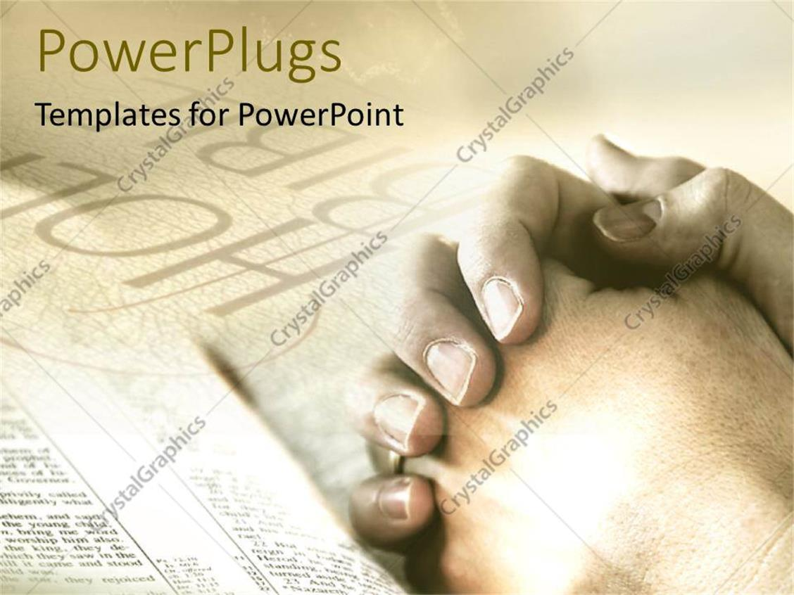 PowerPoint Template Displaying Praying Prayers God Folded Hands Holy Bible Religious Studies Tan Background