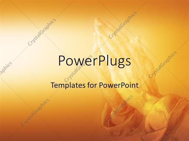 powerpoint template praying in religion on an orange background 29864