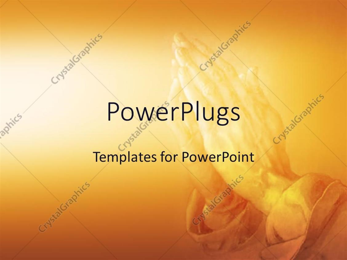 Powerpoint Template Praying In Religion On An Orange