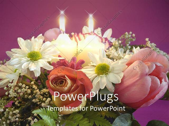 PowerPoint Template Displaying Pretty Bouquet of Flowers with Two Candles Beside