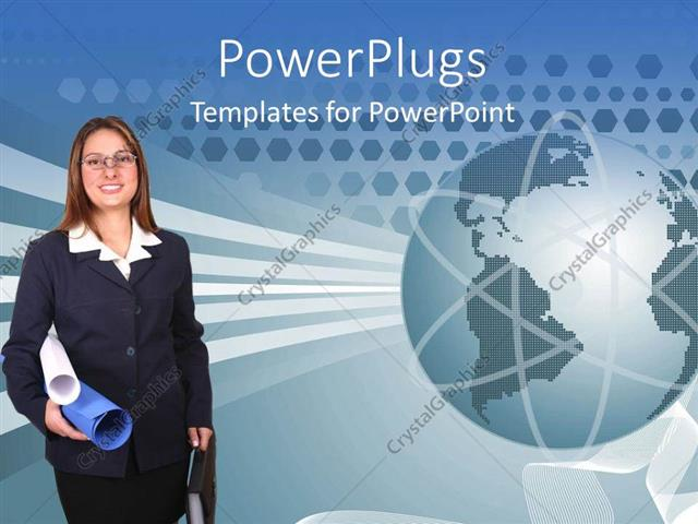 PowerPoint Template Displaying a Pretty Business Lady Holding Papers and an Earth Globe