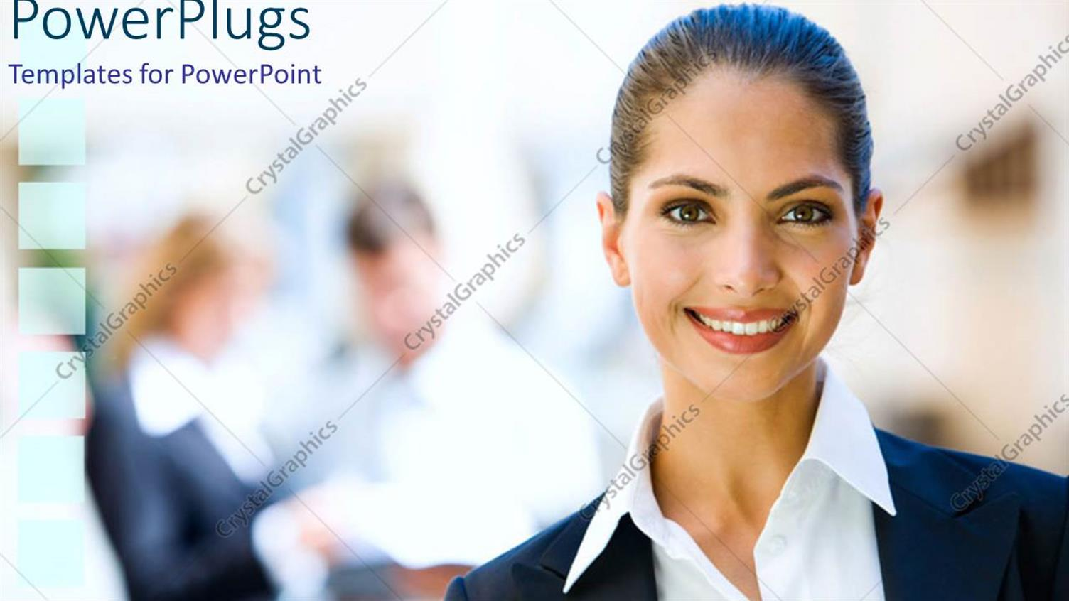PowerPoint Template Displaying Pretty Cooperate Dressed Lady Smiling on a Blurry Background