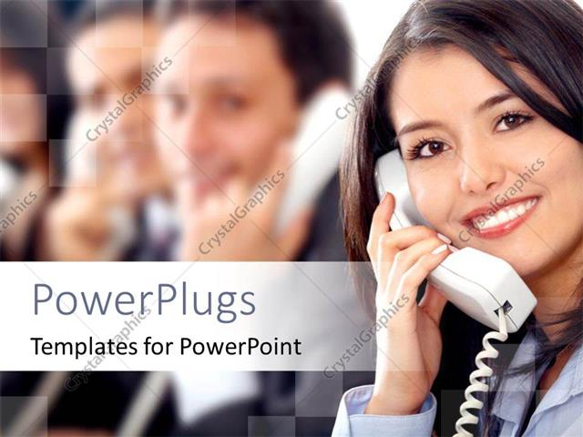 PowerPoint Template Displaying a Pretty Customer Care Lady Smiling and Talking into a Phone